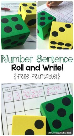 This simple activity is a great way to help kids see the connection between addition and subtraction, as well as practice writing addition and subtraction number sentences! Can also be used as a math center or station. Perfect for first grade! Kindergarten Math Games, Math Games For Kids, Math Classroom, Teaching Math, Dice Games, Student Games, 1st Grade Math Games, Math Addition Games, Kids Math