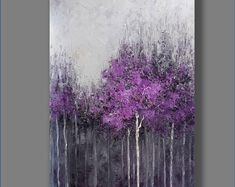 FREE SHIPPING Acrylic Painting Purple Abstract Painting Landscape Painting Wall Hanging Wall Art Painting Home Decor Gift for Her Abstract Acrylic Paintings, Abstract Landscape, Landscape Paintings, Abstract Trees, Purple Painting, Painting Techniques, Painting Tips, Hanging Wall Art, Palette Knife Painting