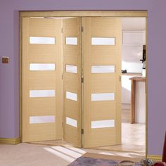 Folding Doors, Nuvu Monaco Oak 3 Door Set With Linea Frosted Glass, 2078mm  High