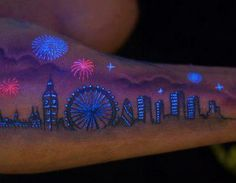 Uv tattoo of the London skyline. NOT My Ideal use of the UV, but man, the piece here, DOES, lend itself to some cool ideas with eyes etc...
