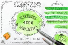 Check out Easter hand drawing decor set 01 by Tatiana Kost design on Creative Market