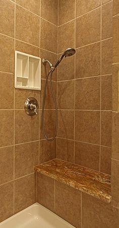 Bathroom Shower Tile Design Ideas - I don't like the built in shelf.......floor insert with tile.  not sure?