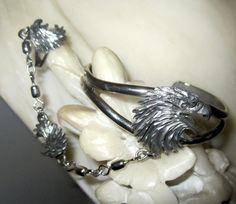 Vintage Signed Silver Eagle Slave Bracelet Gorgeous by JewelSpeak, $65.00