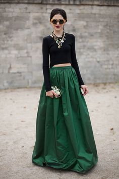 Gorgeous green - this makes a statement. On the streets in Paris, during Paris Fashion Week. Photo by Diego Zuko. #maxi skirt #green skirt #green #jade