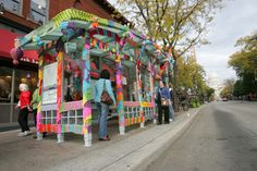 We love temporary public art in part because it's so ephemeral, these little unexpected surprises on the city streets we walk, bike and drive every day. Urban Setting, Yarn Bombing, Outdoor Art, City Streets, Public Art, Crochet Yarn, Urban Art, Outdoor Activities, Fiber Art