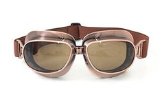 CRG Sports Vintage Aviator Pilot Style Motorcycle Cruiser Scooter Goggle T04 T04ST - Parent (Copper Frame Tinted Lens)
