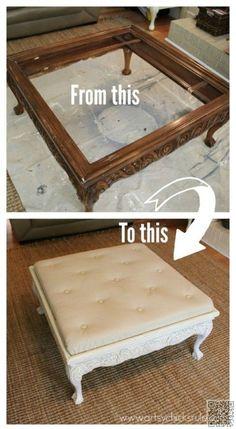 diy coffee table turned into an ottoman | diy coffee table, coffe