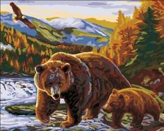 Plaid 21706 Paint By Number Kit, Grizzly Family, 16-Inch by 20-Inch by Plaid. $6.97. Allow anyone to create stunning masterpieces. Perfect for all skill levels. Easy to follow instructions. Superbly detailed classic designs. No blending required. Plaid Paint by Number kit. Kit contains: Acrylic paint, pre-printed textured art board, paintbrush, trilingual instructions and chart. Finished size: 16-inch X 20-inch