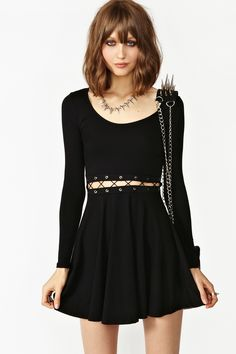 Laced Skater Dress in Black