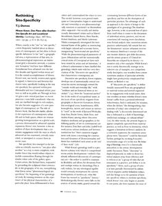 Review: Rethinking Site-Specificity: One Place after Another: Site-Specific Art and Locational Identity by Miwon Kwon Reviewed Work: One Place after Another: Site-Specific Art and Locational Identity by Miwon Kwon Review by: T. J. Demos Art Journal Vol. 62, No. 2 (Summer, 2003), pp. 98-100 Published by: College Art Association DOI: 10.2307/3558510 Stable URL: http://www.jstor.org/stable/3558510 Page Count: 3