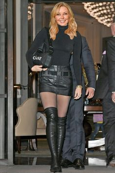 Carol Vordeman, Sexy Boots, Women's Boots, High Boots, Celebs, Celebrities, Leather Fashion, Sexy Women, Mini Skirts