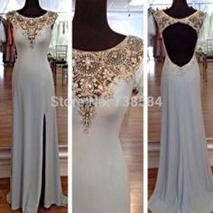 Online Shop Free Shipping Sheath Cap Sleeve Light Blue Crystal Open Back High Slit Long Evening Dress|Aliexpress Mobile