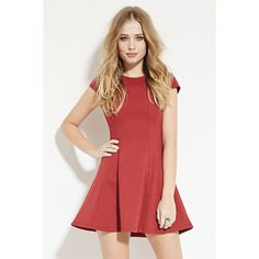 Forever 21 Women's  Textured Skater Dress ($25) ❤ liked on Polyvore featuring dresses, forever 21, red cap sleeve dress, round neck dress, forever 21 dresses and skater dress