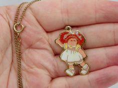 Cute Vintage 1983 Cabbage Patch Kids Enamel Necklace , Cabbage Patch Pendant , Cabbage Patch Doll , Children's Jewelry , 1980's Toy by ShersBears on Etsy
