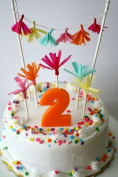 Simple DIY Cake Topper and Cake Decorations Made From Tissue Paper & Candy Sticks