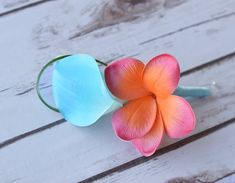 Coral Turquoise Plumeria and Calla Lily Tropical by Wedideas