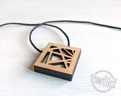 Geometric wood necklace by TwikiConcept