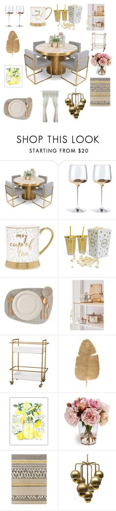 """""""My golden dining room"""" by emmylou22 ❤ liked on Polyvore featuring interior, interiors, interior design, home, home decor, interior decorating, Urban Outfitters, Achim and dining room"""