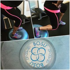 We're getting ready for the @bosu_fitness @fitapproach #bosustrong challenge! She probably didn't have fun this morning but I did! Woooo! It's going to be a great month! My clients are going to loooove me! LOL. #sweatpink by hiphealthychick