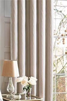 Buy Gold Stripe Pencil Pleat Curtains from the Next UK online shop Curtains Uk, Striped Curtains, Pleated Curtains, Ups For Home, Neutral Bedrooms, Pencil Pleat, Gold Stripes, Cozy House, Window Treatments