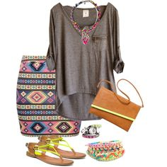 Challenge Item - Grey Top - Laidback Aztec by trinavokes on Polyvore featuring Coach, Mossimo, SHOUROUK, H&M, Cavallini, women's clothing, women's fashion, women, female and woman