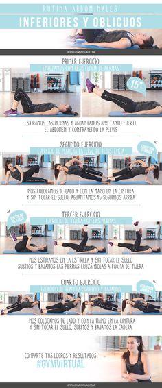 Hoy os traigo esta rutina paso a paso para trabajar los abdominales inferiores y oblicuos paso a paso. Esta rutina es ideal para fortalecer toda la zona del core. Recordad que después es ideal hacer alguna otra rutina de tonificación y de ejercicio cardiovascular. ¡Venga! ¡¡A trabajar!! ¿Qué llevo puesto? Camiseta:http://bit.ly/1RgfsoE Pantalones:http://bit.ly/1JQd1m9 Zapatillas:http://bit.ly/1VN63VD