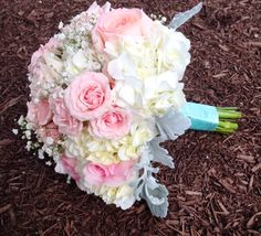 Bouquet with Hydrangeas, Garden Roses, Spray Roses, Babysbreath and Dusty Miller