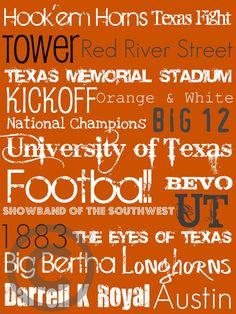 University of Texas Subway Art Print by aworley on Etsy Ut Football, Texas Longhorns Football, Ut Longhorns, Eyes Of Texas, Hook Em Horns, Texas Pride, University Of Texas, Texas Travel, Subway Art
