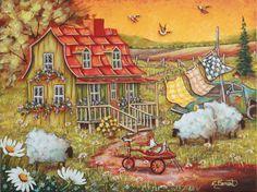 Titre: Drôle de poule Dimension: 18X24 Artiste: Christine Genest Italian Paintings, Sheep Art, Arte Country, Perfect Peace, Storybook Cottage, Cute Paintings, Kunst Poster, Naive Art, Canadian Artists