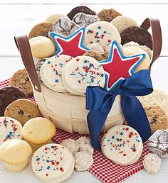 Summer Market Basket | Summer Gifts | Cheryls.com | The perfect gift for your summer picnic or get-together. We've designed a yummy assortment of buttercream frosted patriotic cut-out cookies  and more!