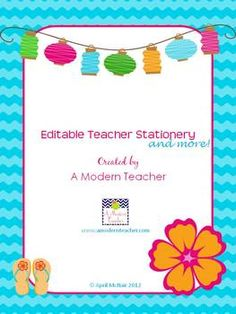 Editable Teacher Stationery and Printable, $
