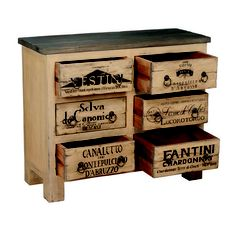 Weathered Wine Label Chest - Belle Escape