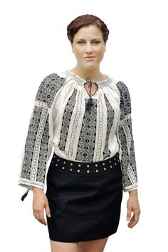 Romanian traditional white blouse with black by EndangeredWear, $120.00