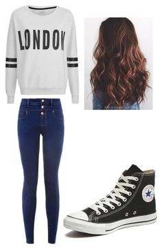 """annie creepypasta"" by marita-598 ❤ liked on Polyvore featuring ONLY, New Look and Converse"
