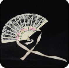 Wedding Bridal Good Luck Charm Lace Fan Ivory w/ Satin Ribbon & Mulberry Flowers