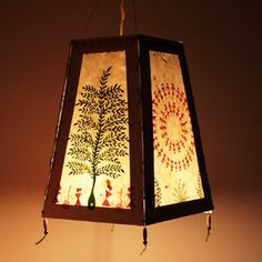 WARLI- Indian Folk Art - Bamboo Green And Teracotta Red Warli Lampshade