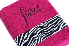 Zebra Bath Towel, Hot Pink Towel, Bathroom, Shower Towel, Boutique Towel, Custom Towel, Personalized Towel, Embroidered Towel by flyinshirer on Etsy