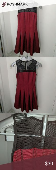 Red w/Black Mesh Fit & Flare Dress Keyhole on back, perfectly accentuates the natural waist! White part in lower left on last picture is the tag (very low-hanging). NWT Never found the right occasion to wear it!  95% polyester 5% spandex, Lining: 90% polyester 10% spandex Mesh: 96% polyester 4% spandex spenser jeremy Dresses Midi