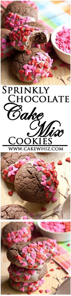 The SECRET behind making the easiest, most delicious, most poofy CHOCOLATE CAKE MIX COOKIES ever! Dip them in chocolate and cover them in sprinkles and you will be in chocolate heaven :) From cakewhiz.com