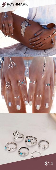 Silver 6 piece boho midi ring set Offers will be considered or countered with the lowest price.   The open style rings have flex and are adjustable!   Comes with a total of 6 rings. All zinc-ally metal.  Brand new! High quality! 🦋 Jewelry Rings