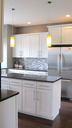 white kitchen cabinets grey countertops