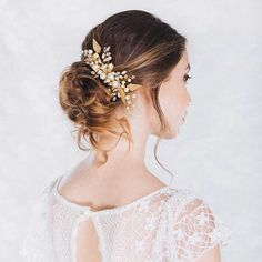 Rosegold Leaves Pearls and Rhinestone Bride Combs