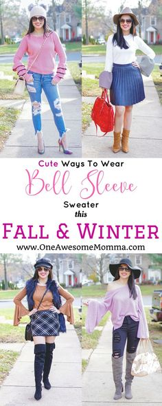 Do you want to keep your fall and winter wardrobe fresh and fun? Check out these cute ways to wear bell sleeve sweater this fall & winter by pairing it with distressed jeans, skinny jeans, leather pleated skirt, and plaid skirt. Winter Outfits 2017, Casual Fall Outfits, Fashion Advice, Fashion Outfits, Mommy Fashion, Fashion Guide, Fashion Bloggers, Bell Sleeve Top Outfit, Fall Winter
