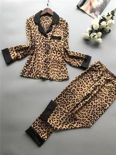 Women Pajamas Leopard Pyjamas Women 2019 Spring Satin Pijamas Women Casual Pyjama Femme Silk Pijama Mujer Homewear Leopard M Pretty Lingerie, Sexy Lingerie, Purple Lingerie, Lingerie Sets, Pijamas Women, Cute Pajama Sets, Cotton Maxi Skirts, Long Sleeve Pyjamas, Silk Pajamas