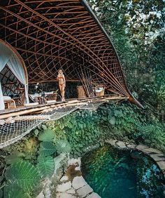 Bambu Indah is a radically distinctive boutique hotel in Ubud and available for travelers from around the world who seeks unique… Ubud Hotels, Hotels And Resorts, Best Hotels, Bamboo Architecture, Bamboo House, Eco Friendly House, Bali Travel, Dream Vacations, Places To Travel