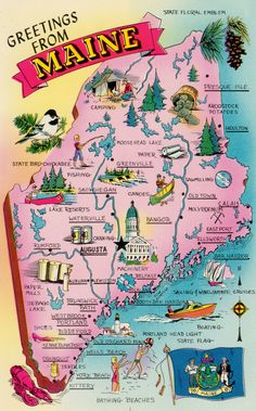 Greetings from Maine, ME, State Map Postcard, 1971 Vintage Postcard by ABarnFullofPostcards on Etsy Road Trip Usa, Maine Road Trip, Usa Trip, East Coast Travel, East Coast Road Trip, New England States, New England Travel, Visit Maine, Pictorial Maps