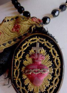 Sacred Heart reliquary 1800s antique ex voto by mythunderstood, $178.00