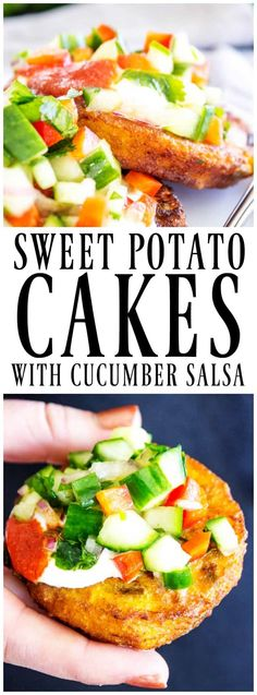 Packed with flavor, these SWEET POTATO CAKES are the perfect appetizer; they're deliciously easy and perfect for the holiday season. Garnished with crisp cucumber salsa, these mouthwatering bites will become a new party favorite. Sweet Potatoe Bites, Potato Bites, Appetizers For Party, Appetizer Recipes, Party Snacks, Vegetarian Recipes, Cooking Recipes, Healthy Recipes, Easy Recipes