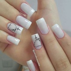 The 90 Vigorous Early Spring Nails Art Designs are so perfect for this Season Hope they can inspire you and read the article to get the gallery. Fancy Nails, Cute Nails, Pretty Nails, French Manicure Nails, Diy Nails, Nail Nail, Diy Ongles, Cross Nails, Cross Nail Art
