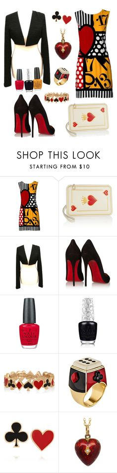 """Poker Face!!"" by angelicus143 ❤ liked on Polyvore featuring Moschino, Charlotte Olympia, Chanel, Christian Louboutin, OPI, Hello Kitty, Alison Lou and Solange Azagury-Partridge"